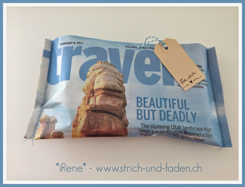 mit Strich und Faden | Geschenkverpackung aus Magazin Recycling