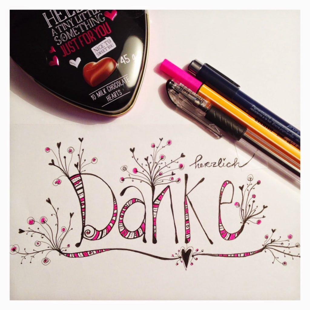 mit Strich und Faden   Herzlichen Dank Sketch Doodle