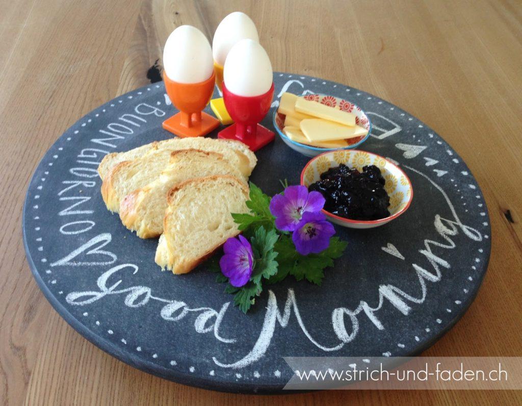 mit Strich und Faden: Drehteller Guten Morgen mit Tafelfarbe |Bonjour |Good Morning