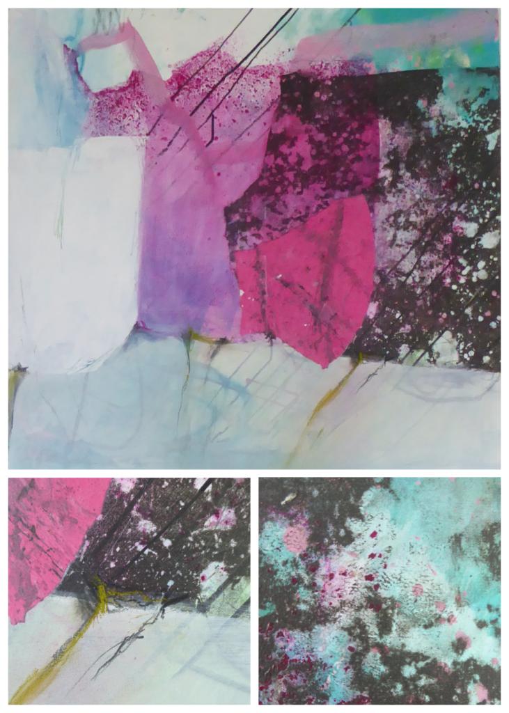 mit Strich und Faden: Acrylbild Frühling