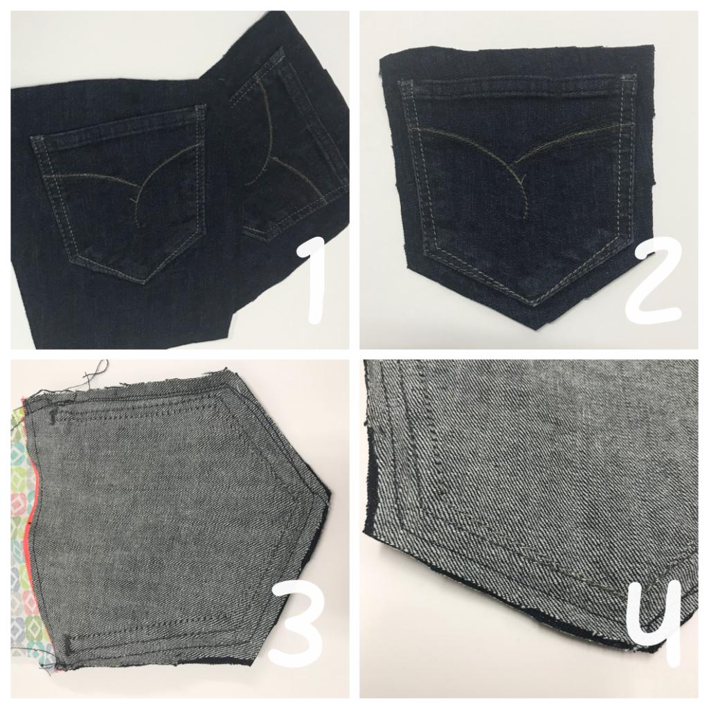 mit Strich und Faden: Täschchen aus Jeanstaschen Nähen Anleitung
